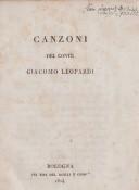 """Una ristampa (e traduzione) delle """"Canzoni del conte GIACOMO LEOPARDI"""", Bologna 1824."""