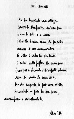 """""""In limine"""" di Ferruccio Benzoni"""